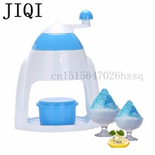 JIQI Ice Crushers Shavers Portable blue handheld manual Household snow cone smasher grinder machine AS plastic handstyle(China)