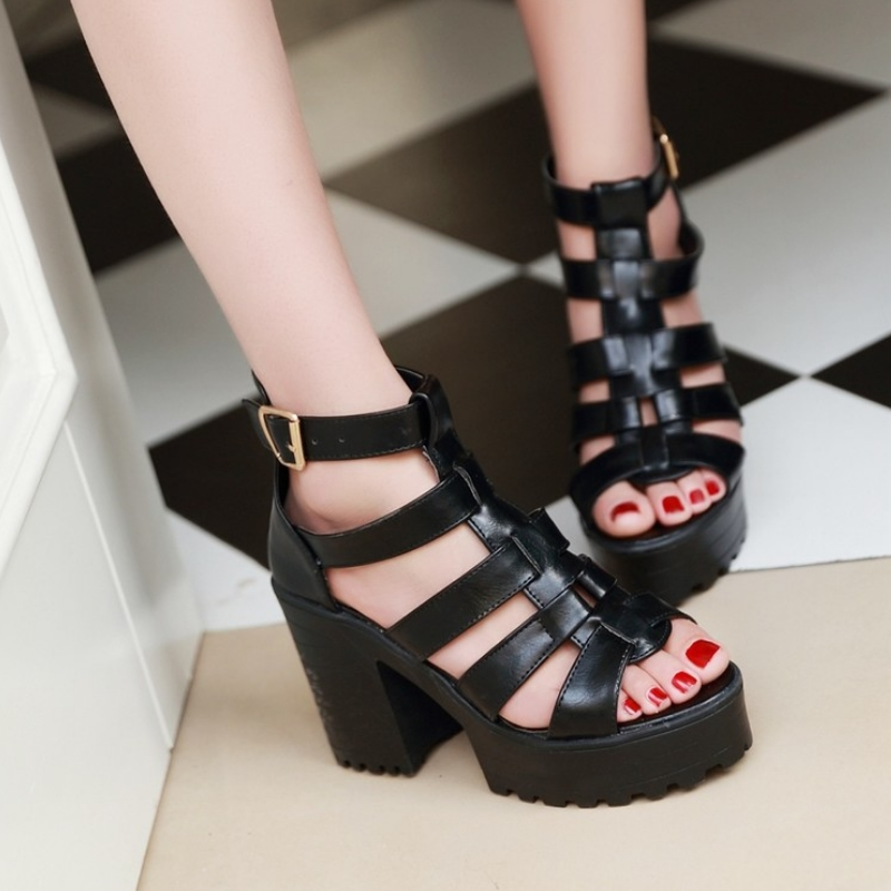 New Fashion Rome Style Shoes, Women Solid Peep Toe Gladiator Shoes, Buckle Platform Women Sandals 12