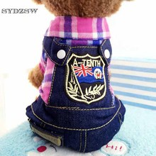 SYDZSW New Pet Clothing Dog Costume Fashion Plaid Jean Dog Chihuahua Coat Suit Overalls for Small Dogs Cats Puppy Products(China)