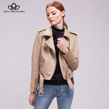 Bella Philosophy Women 2018 autumn winter coat jacket women zipper turn-down collar faux suede biker jacket coat khaki gray(China)