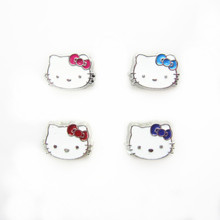 Hot selling 40pcs/lot mix 4 color hello kitty head floating charms living glass memory floating lockets