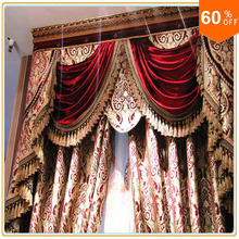 Burgundy Wine Custom Free Shipping hotel curtains classic royal quality curtain send express baroque style for window wide 2 m(China)