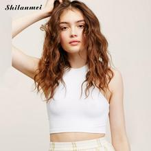 shilanmei Off shoulder knitted bustier crop top Women round neck sleeveless elastic tube tank tops Summer beach sexy camis(China)
