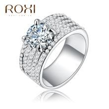 2017 ROXI TOP White Gold Color Classic Simple Design Sparkling Solitaire  Zirconia Forever Wedding Ring Micro-Inserted