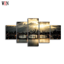 Sunset City Bridge Canvas Art 5Pcs Cuadros Decoracion Infantiles Modern Wall Christmas Canvas Pictures For Home Decor Poster Hot