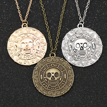 Пираты Карибского моря Ожерелье Джек Воробей Ацтек Монета Медальон Винтаж Золото Серебро Бронза Кулон Джонни Депп Оптовая