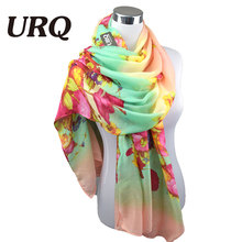 2016 New Design Cotton Scarf Big Size Flower Woman Long Scarves Shawl Wrap 100*180cm Autumn Floral Muffler V10A18429(China)