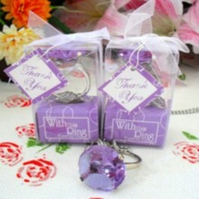 (DHL,UPS,Fedex)FREE SHIPPING+50pcs/Lot+Cheap Wedding Favors Purple Color Crystal Keychain Ring Baby Shower Favor Key Chain