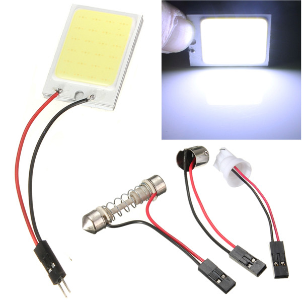 Big Promotion T10 24 SMD COB LED Panel Super White Car Auto Interior Reading Map Lamp Bulb Light Dome Festoon BA9S 3 Adapter 12V