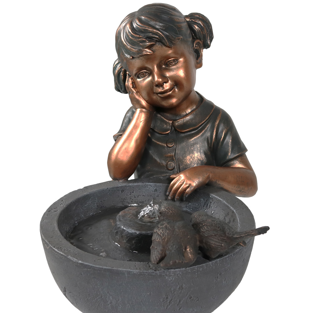 Sunnydaze Little Girl Admiring Water Spout Outdoor Water Fountain, 28 Inch Tall, Includes Electric Pump (4)