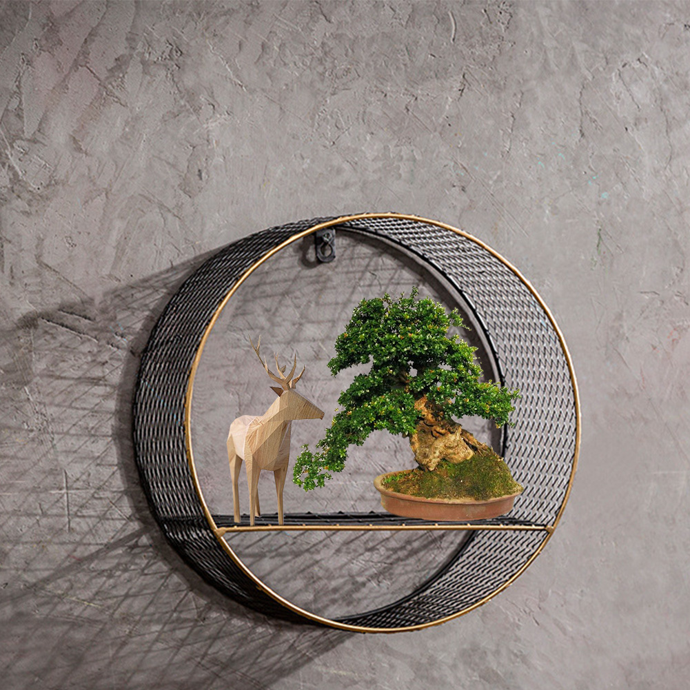 3 Sizes Retro Wall-Mounted Metal Rack Circular Mesh Iron Shelf Industrial Style Round Shelf Office Sundries Organizer Home Decor 8