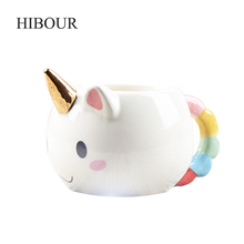 HIBOUR 3D New Ceramic Coffee Cup Children Girl Boy Cute Creative Unicorn Hand-pain Mug Gift Color 350 ML Cartoon Unicorn Mugs(China)