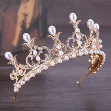 Vintage Gold Baroque Pearl Flower Headbands Crowns Wedding Hair Accessories Bridal Jewelry Headpieces tiaras GL-345(China)
