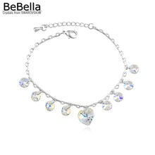 BeBella crystal heart charm box chain bracelet made with Austrian crystals from Swarovski for women gift wedding jewelry(China)