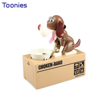 6 Colours Money Box Dog Eats Coin Bank Cartoon Cute Birthday Gift Large Piggy Bank for Money Saving Banks Money Boxes Funny Toy(China)