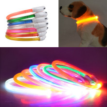 2017 Hot sale Rechargeable USB charging Waterproof LED Flashing Light Band Safety Pet  belts direct PU dog collars  7 Color S/L