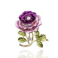 2017 Top Fashion Plant Tin Alloy Broche X054 Ruili Magazine New Korean Clothing Manufacturers Supply Brooch Stereo Rose Leaves