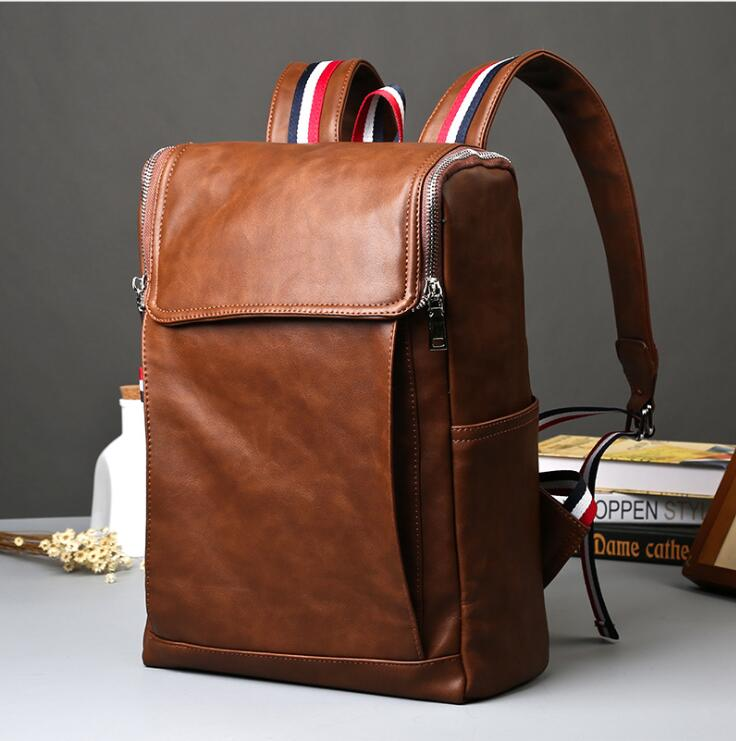 Fashion Tender 2017 Waterproof PU Leather Bags Men High School Students Restore Ancient Ways Travel Backpack Bag Black<br>