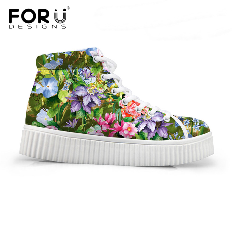 Women Shoes 3D Floral Print Platform Flats Shoes Casual Ladies Leisure Walking Creepers Shoe Comfort Spring Autumn Flats Zapatos<br>