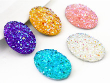 New Fashion 10pcs 18x25mm Mix Colors Natural stone types Flat Back Resin Cabochons Cameo(China)