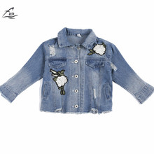 FYH Kids Clothes Girls Denim Jackets Long Sleeve Jean Jacket Children Outwear Autumn Spring School Girls Turn-down Denim Coat(China)