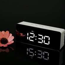Digital LED Mirror Alarm Clock 12H/24H Alarm and Snooze Function C/F Indoor Thermometer Electronic Desktop Table Clocks