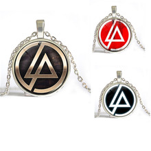 Free Shipping Rock Band Linkin Park Logo Necklace Zinc Alloy Glass Retro Rock Necklace For Fans