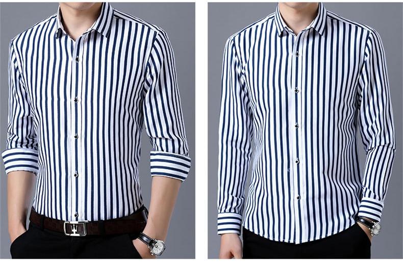 2018 New Men's Striped Male Shirts Cotton Men Shirt Mens Clothing Chemise Social casual Slim fit Dress Homme Shirts men K036 5