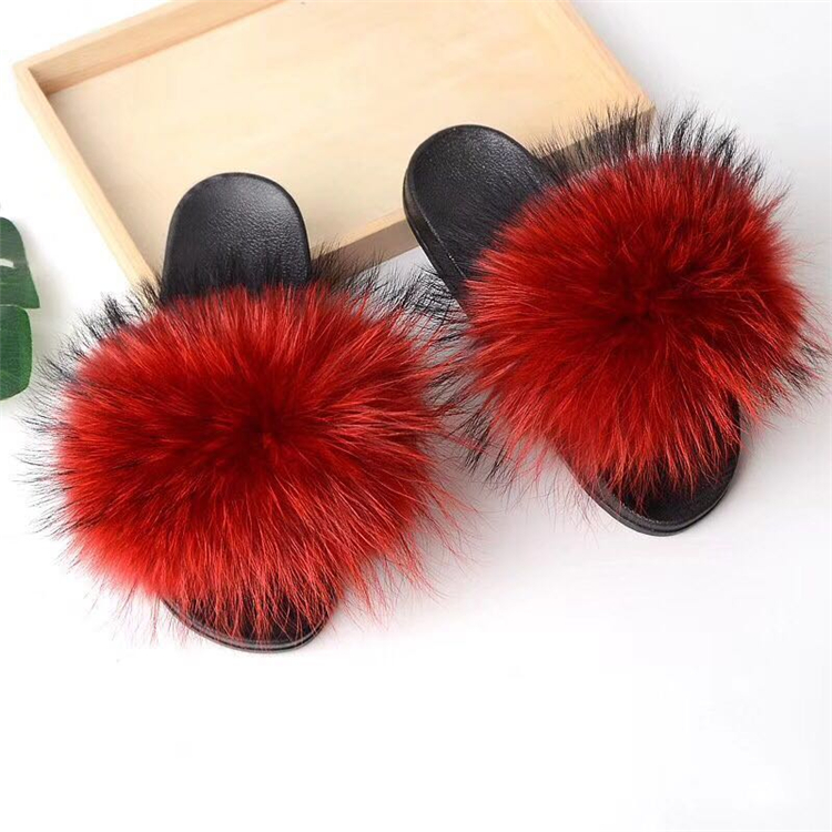 raccoon fur slippers red (1)