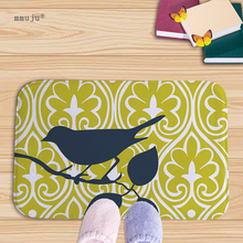Big discount 40x60cm door mat living room kitchen bath floor carpets cartoon animals birds owls printed soft flannel fabric(China)