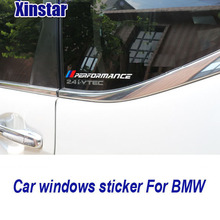 2pcs lastest newest M performance car windows sticker for bmw E38 E39 E46 E53 E60 E61 E64 E70 E71 E85 E87 E90 E83 F01 F10 F30