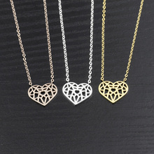 Wholesale 10piece Stainless Steel Silver Rose Gold Chain Collares Origami Paper Heart Necklaces For Women Kolye Jewelry Colar(China)