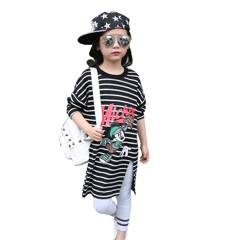 Kids Dresses for Girls Cartoon Dress Mouse Autumn Infant Long Sleeve Stripe Clothes Casual Students Dress Children Clothing Tops<br><br>Aliexpress