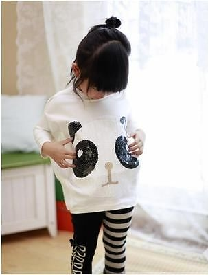 Girls 2Pcs Sets Panda Bat Sleeve Tops and  Leggings Kids Baby Clothes Outfits 2-7Y<br><br>Aliexpress