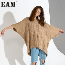 [EAM] Autumn 2017 New Round Neck Three-quarter Sleeve Warm Brown Hollow Out Thickening Sweater Women Fashion Tide J91504