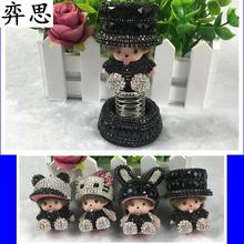 Black Kiki doll Rhinestone car styling decorate Perfume seat Ladies' air freshener Beautiful Kiki car perfume seat(China)