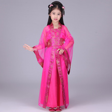 children chinese traditional hanfu dress girls clid kids kid ancient chinese hanfu dress costume woman tang clothing for girl(China)