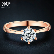 Rose Gold Color Classic Simple Design 6 Prong Sparkling Solitaire 1ct Zirconia  Forever Wedding Ring bijoux Wholesale R014