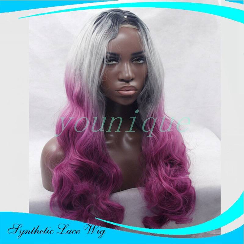 Lace front wig Wavy long curly hair Chemical fiber Synthetic wig Europe and the United States fashion Rose Red gradient wig<br><br>Aliexpress
