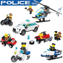 Wange Super City Police Cars Helicopter Motorcycle Chase Bandit Building Blocks  Kids Toys Compatible Legoe