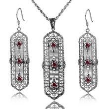 Fashion Wedding Bridal Jewelry Sets Created Garnet Jewelry Set 925 Sterling Silver Earrings Pendant Set Vintage Accessories