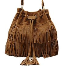 2017 New Suede Drawstring Bucket Bag Fashion Tassel Shoulder Bags Women Handbag Faux Fringe Crossbody Messenger Bag For Female