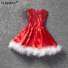 Baby Girls Christmas Dress Toddler Party Wedding Dress Children Red Sequined Princess Dress Girls Clothes With Feathers Vetidos(China)