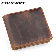 COHEART 100% genuine leather wallet men purses cowhide wallets vintage quality guarantee lether wallet carteira masculina(China)