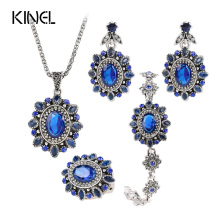 4Pcs Retro Look Blue Crysta Jewelry Sets Color Silver Sunflower Crystal Necklace Ring Bracelet Earring For Bridal Jewelry Sets