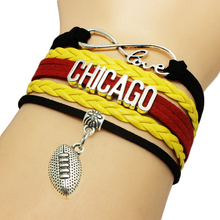 Infinity Love Chicago Baseball Team Bracelets Leather Suede Rope Charm Customize Friendship Wristband Women Bangle