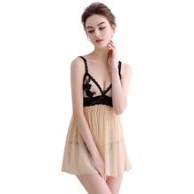 Buy 2018 New Women Sexy Nightwear Plus Size S-6XL Lace Nightgown Sleepwear Miniskirt G-String Set Sexy Lingerie Robe V-Neck Homewear