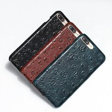 Natural Real Genuine Cow Leather Case For iPhone 7 Plus 6 6S Plus 5 5S SE Cell Phone Luxury 3D Pirate Skull Back Covers  Fundas