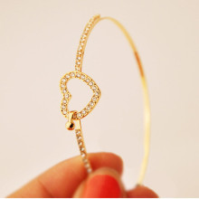 saatleri 2017 New Arrival Fashion Korea Delicate Imitation Created Diamond LOVE heart Bangle Bracelets for women gift #Sali0501