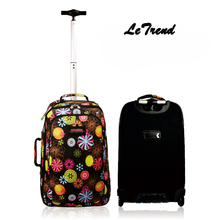 Letrend Black flower Zipper Travel Bag 20 inch Rolling Luggage Spinner Student Trolley Suitcase wheels Women Cute Carry On Bag
